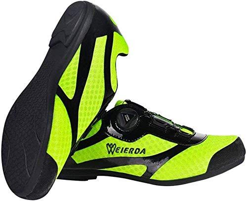 KUXUAN Zapatillas De Ciclismo para Hombre Zapatillas De Bicicleta Carretera Hebilla De Doble Espina De Fibra De Carbono Ultraligeras Zapatillas De Deporte con Cierre Automático,Green-38EU