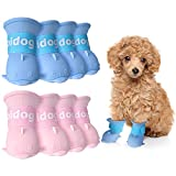 Weewooday 8 Pieces Waterproof Dog Boots Shoes Adjustable Paw Protector Puppy Candy Colors Non-Slip Rain Shoes Pet Boots for Snow Rain Day Middle and Small Dogs, Blue, Pink