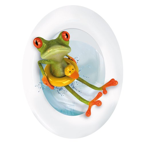 Wandkings Frosch mit Rettungsring, WC Deckel Aufkleber Sticker, 30 x 40 cm