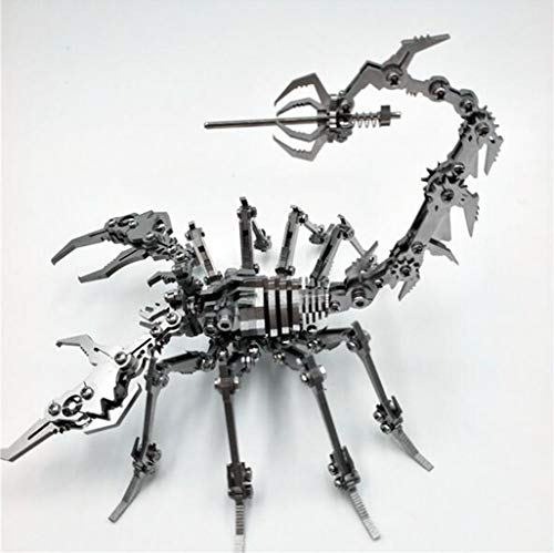 3D metalen puzzel, mechanische schorpioen DIY roestvrij staal gemonteerd verwijderbare model zonder lijm (Color : Metallic)