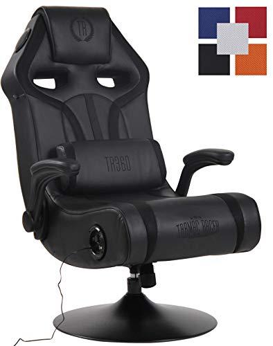 CLP Sillón Gaming Sonoma con Entrada USB Tapizada En Simil Cuero & En Microfibra I Silla Gamer Giratoria & con Sistema De Sonido I Color: Negro/Negro