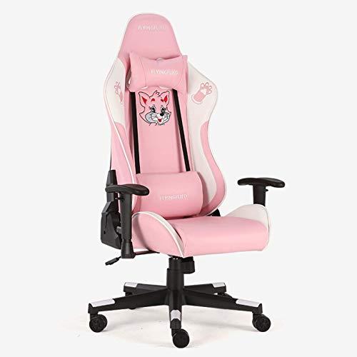 HHJJ Sedia da Gioco con Ufficio Regolabile Bluetooth Tempo Libero e Confortevole con poggiapiedi in Stile Corse -12011m1q9e (Color : Pink)
