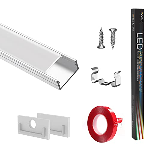LED Profil 10x1m U-Form,LED Aluminium Profil,Schiene Innere Breite16mm Passend Für Philips HUE-Lichtstreifen,Mit 3M Klebstoff,Metall Befestigungs Clips,Endkappen,LED-Kanäle,Estiwe 10-Pack