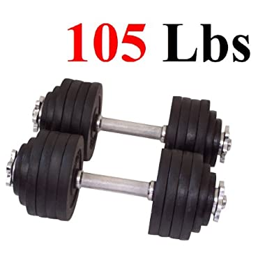 One Pair of Adjustable Dumbbells Cast Iron Total 105 Lbs (2 X 52.5 Lbs) by Unipack