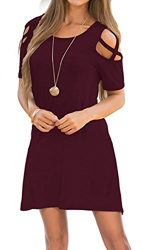 Womens Dresses Cold Shoulder Round Neck Loose Tunic Casual T Shirt Dress Burgundy S