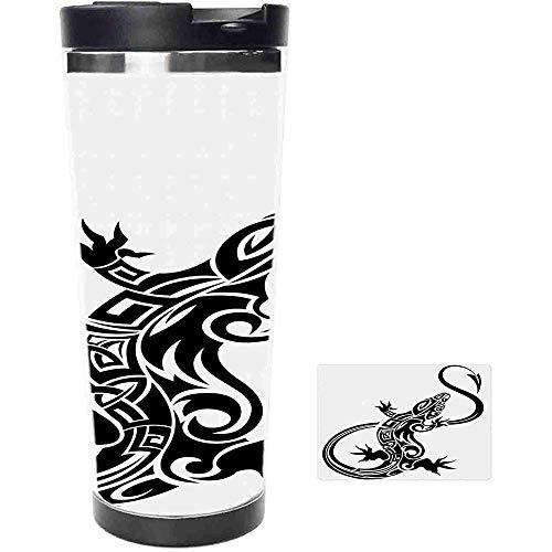 Travel Tumbler-Monochrome Zusammensetzung einer Eidechse mit Strudeln und ethnischen Motiven Hawaii Animal Edelstahl Kaffeetasse & Tasse-Thermotasse mit Spritzwassergeschütztem Schiebedeckel-14 Unzen