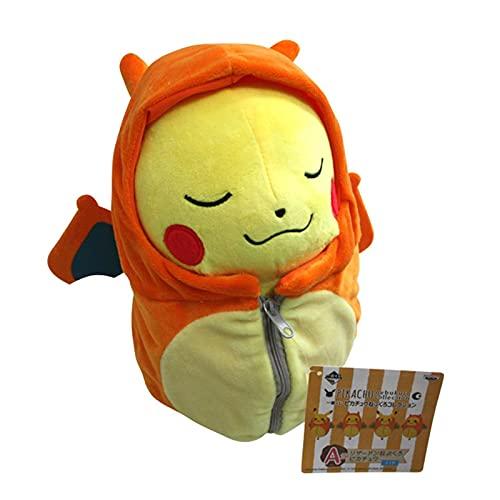 QWET Pokemon Anime Süße Augen Geschlossen Pikachu Cosplay Schlafsack Charizard Plüschtier 25Cm Ausgestopfte Puppe Für Kinder Geschenk