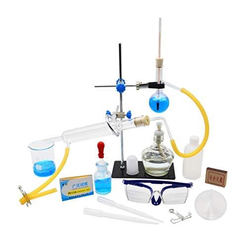Sucastle La destilación de aceites Esenciales, Unidad de Vidrio de Laboratorio Kit, Destilador de Agua purificador de cristalería Kits W/decantación Embudo baterías de condensadores Tubo Lleno