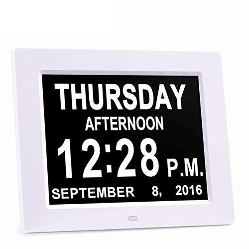 FPRW Extra grote digitale 8-inch wekker, digitale maandkalender, wandklokken met slechting en seniorenwandklokken, wit