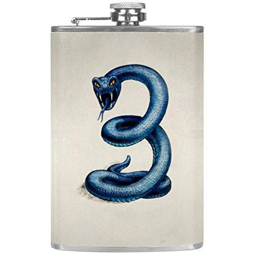 Schlange blaues Tier Flachmann Edelstahl und Trichter, 8oz Flachmänner Set Geeignet Zum Tragen von Alkohol zum Trinken von Alkohol, Whisky Rum und Wodka Geschenk für Männer 227ml