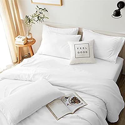 LBRO2M Bed Sheets Set Queen Size 6 Piece 16 Inches Deep Pocket 1800 Thread Count 100% Microfiber Sheet,Bedding Super Soft Hypoallergenic Breathable,Resistant Fade Wrinkle Cool Warm (White)