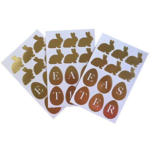 Amosfun Etiqueta Adhesiva autoadhesiva de Pascua Etiqueta autoadhesiva Dorada Etiquetas de Regalo de Dibujos Animados Etiquetas Lindas para niños