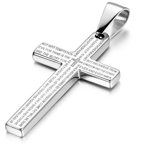 Cupimatch Bibel Gebet Kreuz Edelstahl Anhänger, Halskette mit 55cm Kette für Herren Damen, Silber