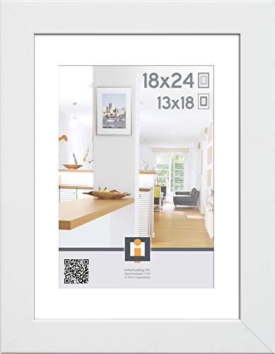 Intertrading Olymp Massivholz Fotorahmen 18x24 cm Weiß mit Passepartout – Ausschnittgröße 13x18 cm