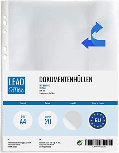 20 Dokumenten-Hüllen mit Klappe, DIN-A4 Prospekthülle seitlich offen mit Verschlusslasche, Dokumentenhüllen zum Abheften, gelochte Mappe mit seitlichem Eingriff