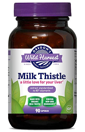 Oregon's Wild Harvest, Certified Organic Milk Thistle Capsules, 80% Silymarin, 1500 MGS, 90 Ct