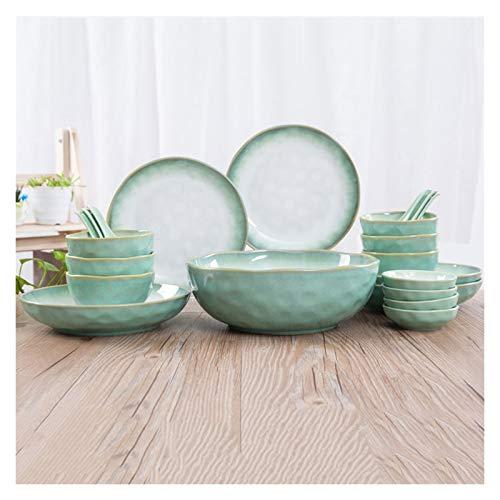 NYKK Conjunto de vajillas de Cocina de 46 Piezas, Platos Platos Platos, Servicio para 10, Placa de Cena de cerámica duraderas, Platos y tazones Redondos para el hogar. (Color : Green)