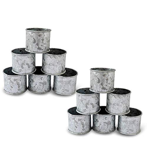 Kaizen Casa Galvanized Design Rustic Style Metal Napkin Ring for Dinning Table Parties Everyday, Set of 12