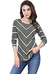 Allegra K Women's Long Sleeves Scoop Neck Chevron Print Top