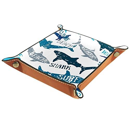 AITAI Bandeja de valet de cuero vegano organizador de mesita de noche placa de almacenamiento de escritorio Catchall Sharks Surf Blanco
