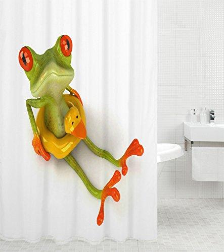 Duschvorhang Frosch 180 x 200 cm, hochwertige Qualität, 100prozent Polyester, wasserdicht, Anti-Schimmel-Effekt, inkl. 12 Duschvorhangringe