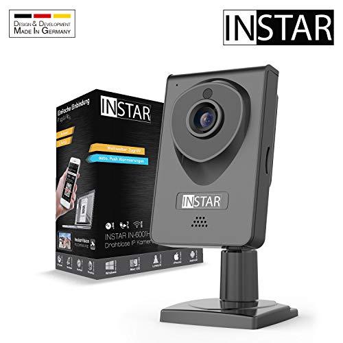 INSTAR IN-6001HD HD IP camera/bewakingscamera/ipcam met LAN/WLAN/Wifi voor bewaking of als baby camera (8 IR LED infrarood nachtzicht, groothoek, SD-kaart, WDR, bewegingsdetectie, opname) zwart