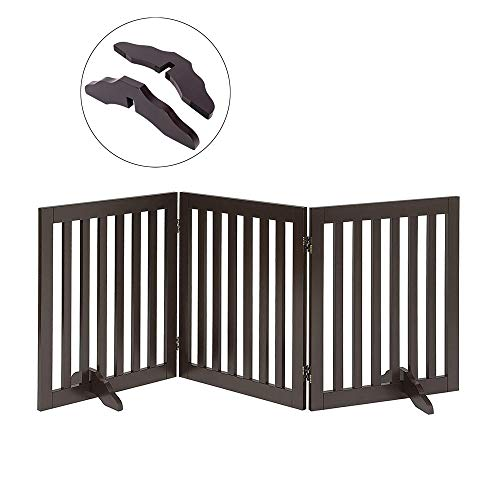 Total Win Freestanding Pet Gate for Dogs with 2PCS Support Feet Foldable Wooden Dog Gates for Doorways Stairs Indoor Pet Puppy Safety Fence 24 Inches H 60 Inches W 3 Panels Espresso