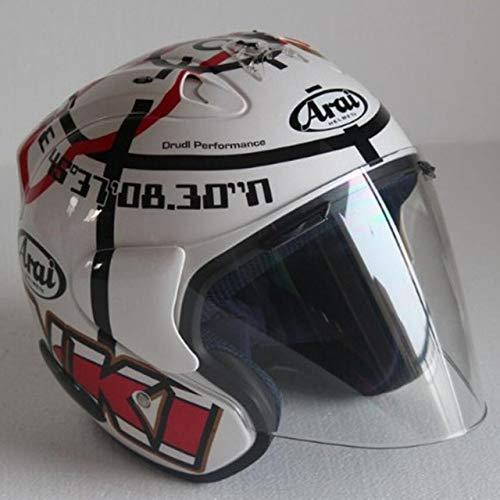 Mdsfe Mezzo casco da motociclista classico casco quattro stagioni design unisex personalità da corsa doppia fibbia ad anello leggera portatile - trasparente X XXL