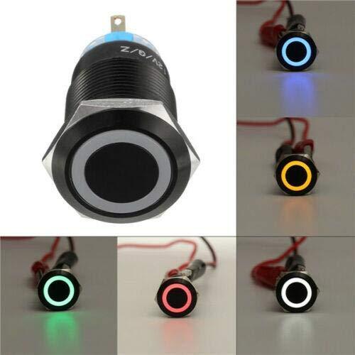 Riloer - Interruptor de botón automático (12 V, 19 mm), color azul