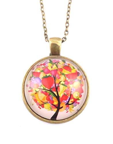 Obstbaum Motiv Cabochon Kette 60 cm Modeschmuck Bronze-Farben