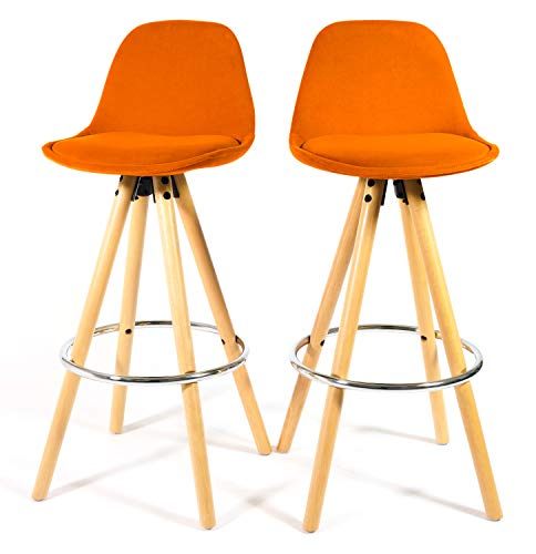 Bravich Retro Scandinavian Design Set of 2 Barstools in Terracotta Orange Velvet Fabric | Ergonomic Solid Wooden Legs Premium Velvet Bar Chairs Breakfast Bar Kitchen Stool With Backrest and Footrest