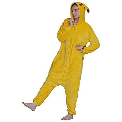 Schlafoveralls Overall Tier Onesies Pikachu Mit Kapuze Pyjamas Jumpsuit Nachtwäsche Unisex Adult Cartoon Strampler Pyjamas Cosplay Onesies Weihnachten Halloween-Kostüm ( Color : Pikachu , Size : M )