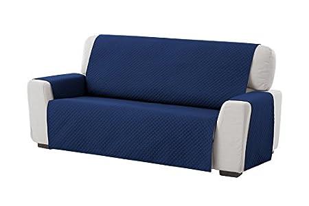 Textilhome - Funda Cubre Sofá Adele, 2 Plazas, Protector para Sofás Acolchado Reversible. Color Azul