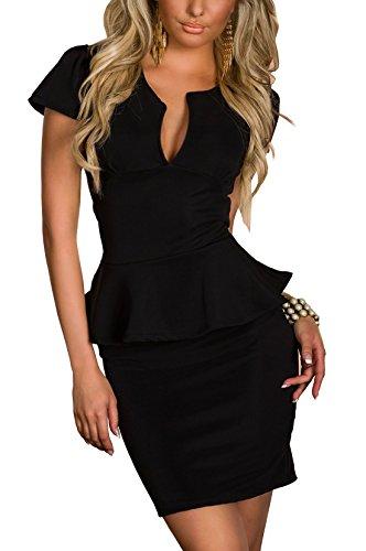 Boliyda verano cuerpopuede Backless Clubwear Vestido corte bajo volante Slim Club Fiesta casual vestido de diario para mujeres Ladies Lady Negro Talla L