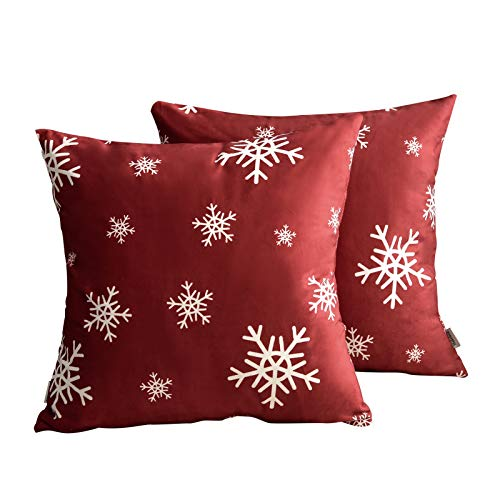 Shakeleca Pack of 2 Merry Christmas Snowflake Velvet Soft Solid Decorative Square Throw Pillow Covers Cushion Case Christmas Home Decoration for Sofa Couch Bed Chair 20x20 Inch