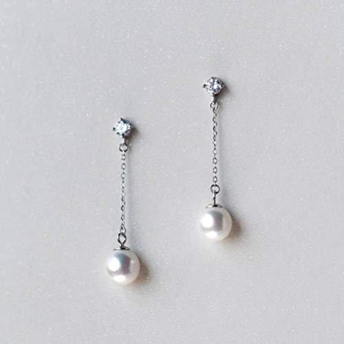 WOZUIMEI S925 Pendientes de Plata Estilo Coreano Femenino Pendientes de Cuentas de un Solo Diamante de Cuatro Puntas Pendientes Largos de Diamantes Mujeresarete
