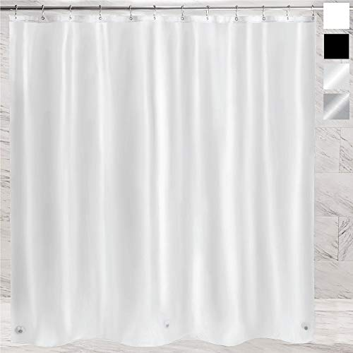 Gorilla Grip Premium PEVA Shower Curtain 72x72, Strongest, Mildew Resistant, BPA Free, Waterproof, Magnets in Curtains, Rust Resistant Grommets, Fits Standard Bath Tub and Showers, Single, Frosted