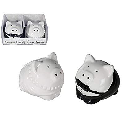 Salt and Pepper Shakers Wedding Pigs Bride and Groom Wedding Couple by OB
