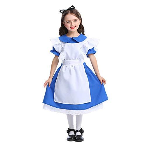 CGBF - Disfraz de princesa de Halloween para niños de Alicia en el país de las maravillas, disfraz de cosplay de disfraz de uniforme de rendimiento, azul, 3 a 6 años