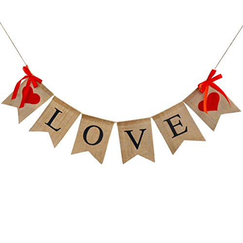 Valentine's Day Burlap Banner, Valentine Day Décor for Home, Banner Garland with Rustic Love Banner Love Hanging Banner Decor for Mantle Fireplace Wall, Decorations Pre-Assembled - No DIY Required