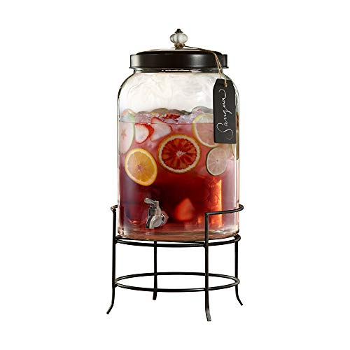 Style Setter 210235-GB 3 Gallon Glass Beverage Drink Dispensers with Metal Stand & Lid, Tag and Ceramic Knob, 10x17, Clear