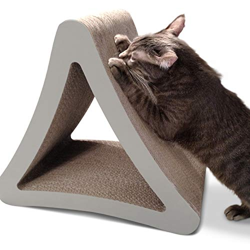 PetFusion 3-Sided Vertical Cat Scratching Post (Standard Size, Warm Gray). [Multiple Scratching...