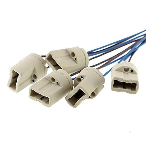 Lámpara G9 de Offgridtec®, certificación DVE y UL, con una longitud del cable aislante para lámparas de primera luz, LED, halógenas y LFC (5 unidades)