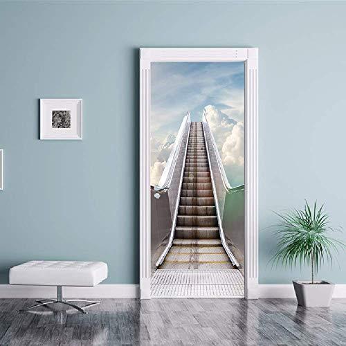 PyUK 3D-ladder, podium, lift, deur, zelfklevend, animatie, decoratie, vinyl, afneembaar, muurschildering, decoratie voor huis 77x200cm