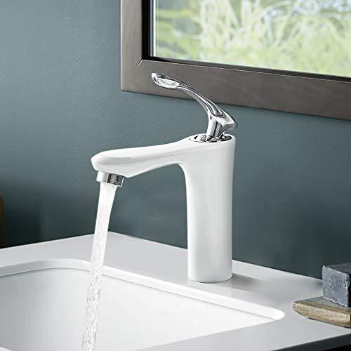 BONADE Grifo Lavabo Blanco Grifo para Baño Monomando Mezclador de Agua Fría y Caliente Grifo para Lavabo Grifería Baño Grifo de la Cuenca