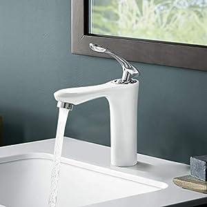 BONADE Grifo Lavabo Blanco Grifo para Baño Monomando Mezclador de Agua Fría y Caliente Grifo para Lavabo Grifería Baño…