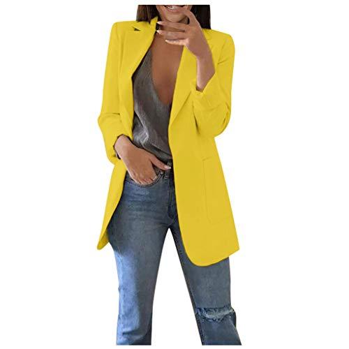 Xmiral Anzug Damen Einfarbig Slim Fit Umlegekragen Blazer Strickjacken Mittellang Büro Mantel mit Tasche Dünn Jacke für Business Arbeit Hochzeit(Gelb,3XL)