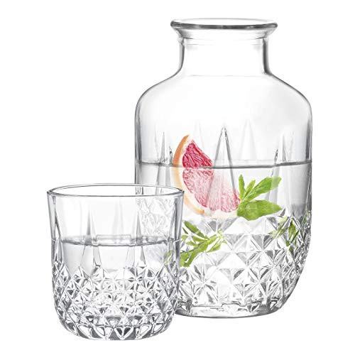 Madam Coco Audrey Crystal Bedside Water Carafe and Glass Set, (17.75 oz or 525 ml), Crystal Bedside Night Carafe Pitcher and Tumbler Glass Set by POLENArt