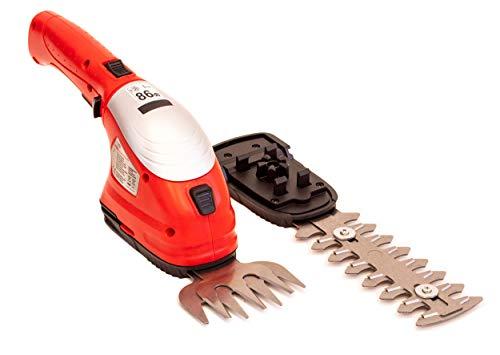 Grizzly Tools Akku Gras Schere - Strauchschere - Akkuheckenschere 3,6 V 1,5 Ah, Grasmesser 8 cm, Strauchmesser 12 cm, werkzeugloser Messerwechsel, inkl. Akku und Schnellladegerät
