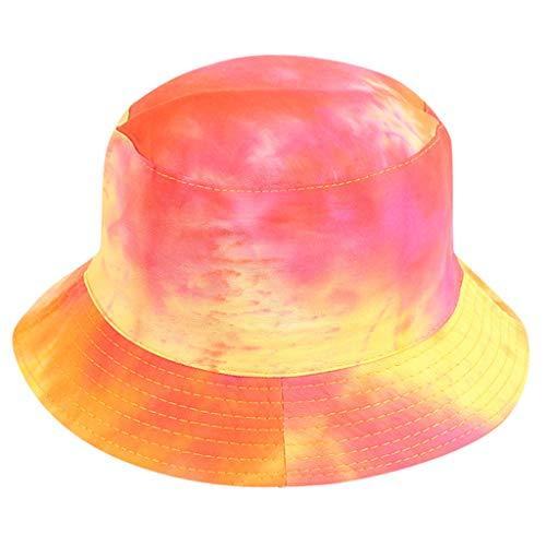 Ruinono Tie Dye Bucket Hat for Men and Women Cool Breathable Cotton Bucket Summer Sun Hat (Red)